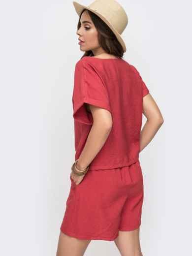 Комплект из блузки с цельнокроенным рукавом и шорт коралловый 49315, фото 3