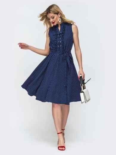 Расклешенное платье в горох с резинкой по талии тёмно-синее 46615, фото 1