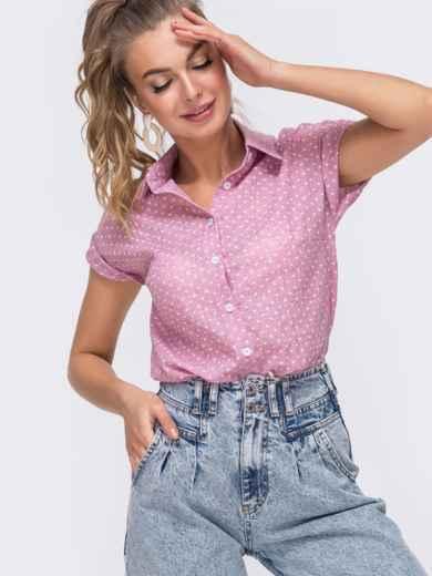 Розовая блузка приталенного кроя с принтом 48678, фото 1