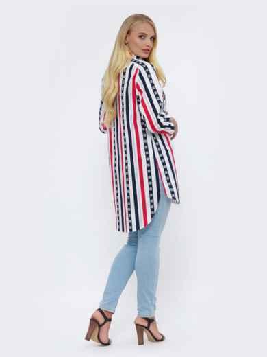Блузка большого размера в полоску с удлиненной спинкой белая 51031, фото 2