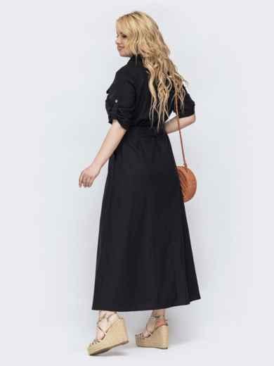 Черное расклешенное платье большого размера 47826, фото 2