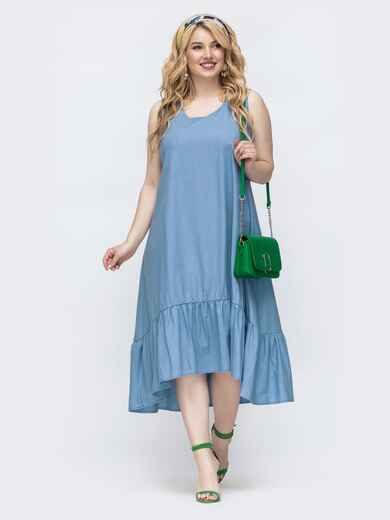 Голубое платье свободного кроя батал 47823, фото 1