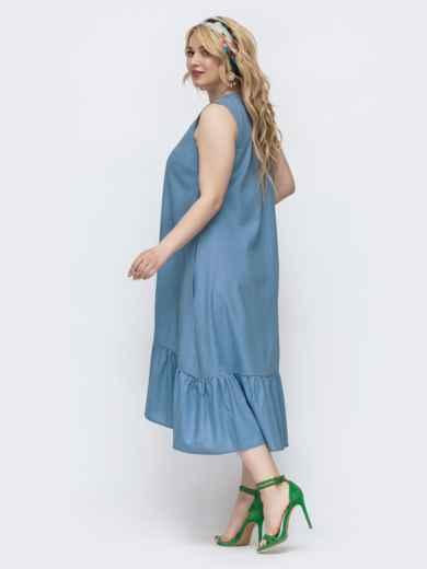 Голубое платье свободного кроя батал 47823, фото 2