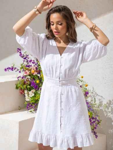Приталенное платье из фактурного хлопка на пуговицах белое 49143, фото 2