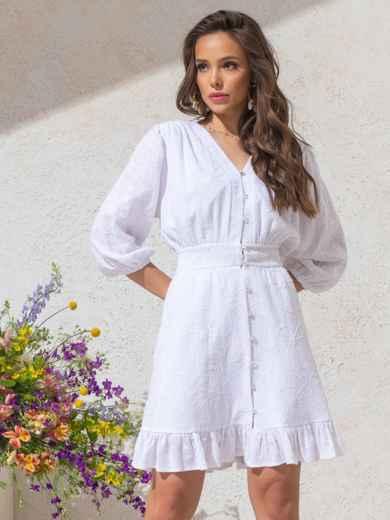 Приталенное платье из фактурного хлопка на пуговицах белое 49143, фото 3