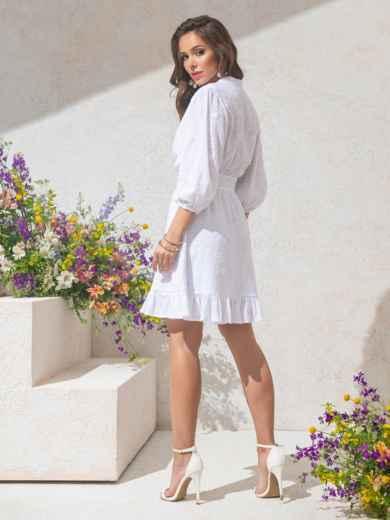 Приталенное платье из фактурного хлопка на пуговицах белое 49143, фото 4