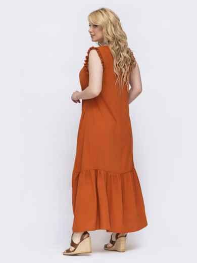Терракотовое платье свободного кроя батал 47821, фото 2
