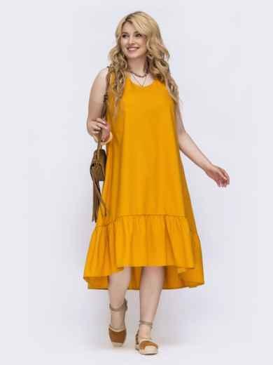 Желтое платье свободного кроя батал 47825, фото 2