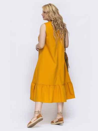 Желтое платье свободного кроя батал 47825, фото 3