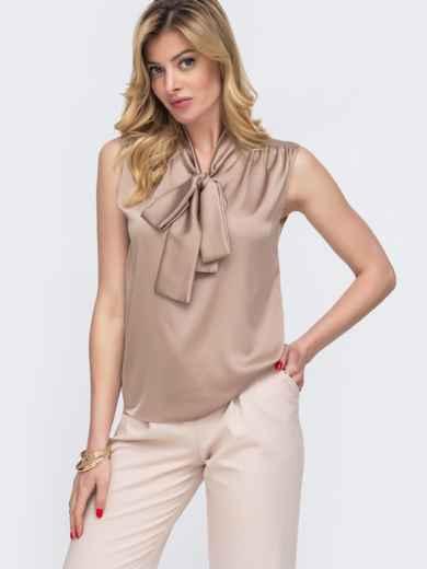 Блузка бежевого цвета с воротником-аскот 48426, фото 1
