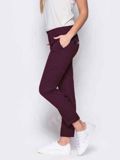 Бордовые брюки с кожаной отделкой на карманах 10325, фото 2