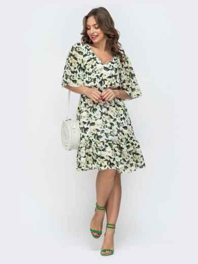 Приталенное платье из шифона с принтом молочное 46873, фото 2
