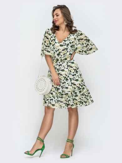 Приталенное платье из шифона с принтом молочное 46873, фото 3