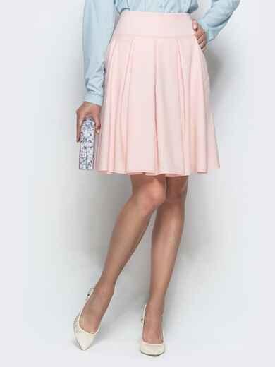 Льняная юбка с бантовыми складками и карманами розовая - 39807, фото 1 – интернет-магазин Dressa