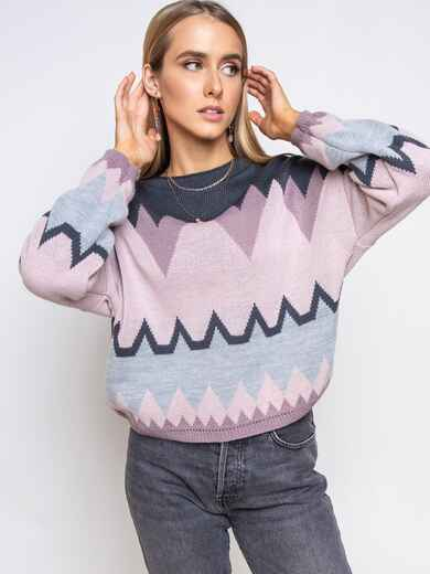 Пудровый свитер мелкой вязки с геометрическим принтом 51718, фото 1