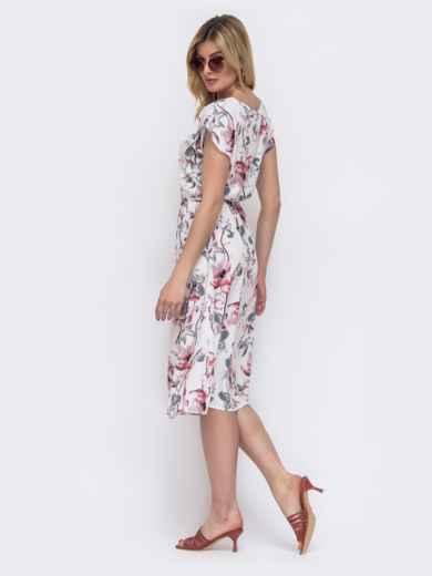 Белое платье с принтом и резинкой в поясе 48483, фото 2