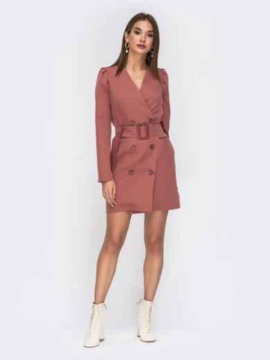 Платье-пиджак розового цвета с широким поясом 42221, фото 1
