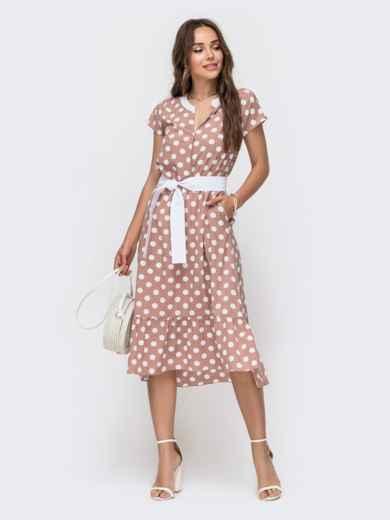 Расклешенное платье в горох с оборкой по низу пудровое 49154, фото 1