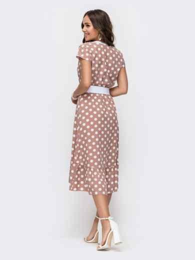 Расклешенное платье в горох с оборкой по низу пудровое 49154, фото 3