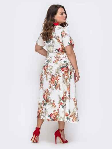 Белое платье батал с цветочным принтом и расклешенной юбкой 49700, фото 2