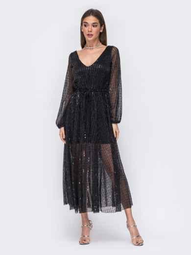 Чёрное платье с пайетками и вырезом по спинке 43694, фото 2