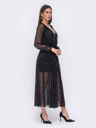 Чёрное платье с пайетками и вырезом по спинке 43694, фото 3
