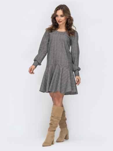 Серое платье с воланом по низу 44152, фото 2