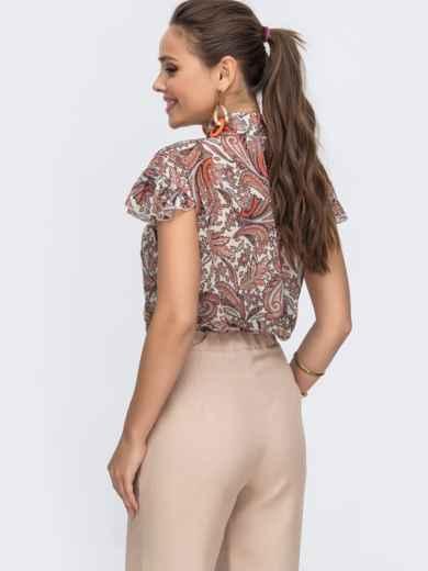 """Шифоновая блузка с принтом и рукавом """"крылышко"""" оранжевая 49111, фото 3"""