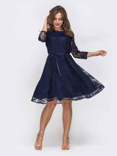 Тёмно-синее платье из гипюра с расклешенной юбкой 43039, фото 1