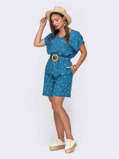 Комплект голубого цвета в горох из блузки и шорт 49139, фото 2