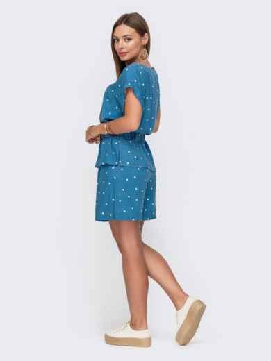Комплект голубого цвета в горох из блузки и шорт 49139, фото 3