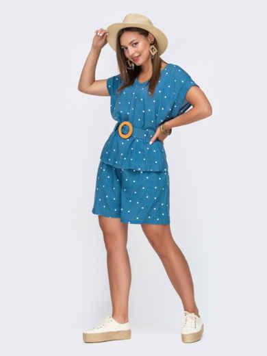 Костюм голубого цвета в горох из блузки и шорт 49139, фото 1