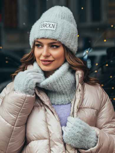 Серый комплект-тройка из шапки на флисе с перчатками - 51957, фото 1 – интернет-магазин Dressa