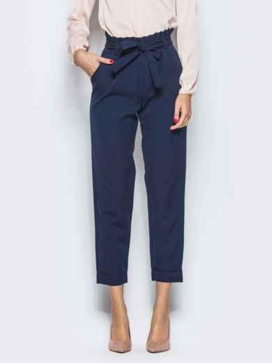 Тёмно-синие брюки с рюшей на поясе 12763, фото 2
