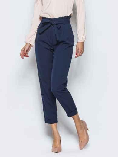 Тёмно-синие брюки с рюшей на поясе 12763, фото 3