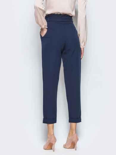 Тёмно-синие брюки с рюшей на поясе 12763, фото 4