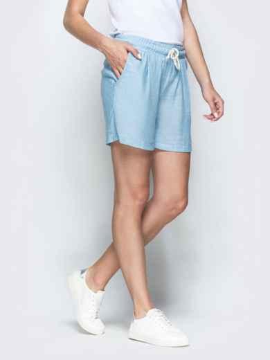 Голубые шорты из льна с резинкой по талии 39413, фото 2