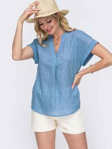 Хлопковая блузка свободного кроя с V-вырезом голубая 49102, фото 1