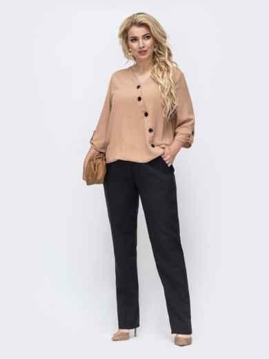 Комплект большого размера со свободной блузкой и брюками бежевый 50783, фото 1