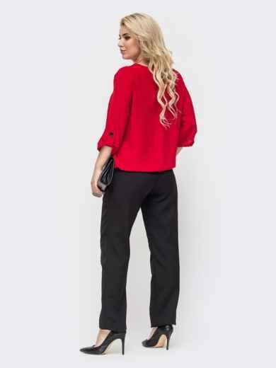 Комплект большого размера со свободной блузкой и брюками красный 50784, фото 2