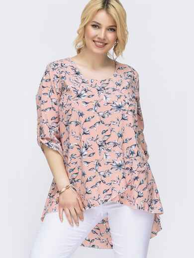 Розовая блузка батал с принтом и удлиненной спинкой 46166, фото 1