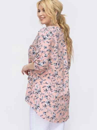 Розовая блузка батал с принтом и удлиненной спинкой 46166, фото 2