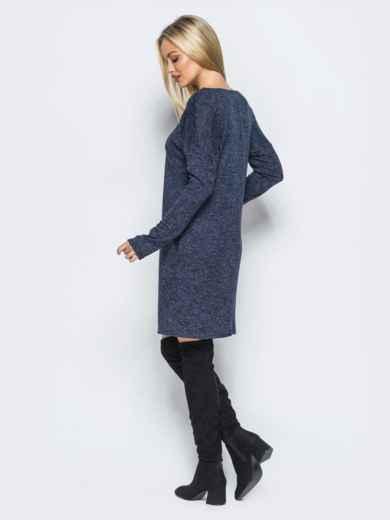 Тёмно-синее платье с декоративной молнией 17496, фото 3