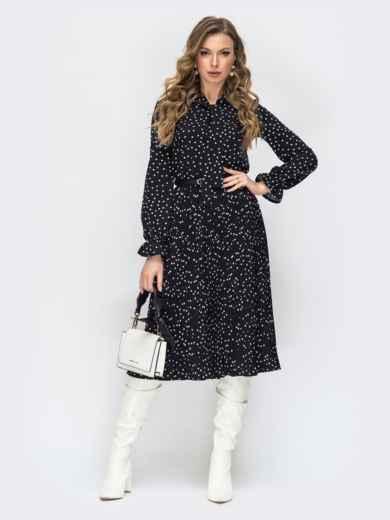 Чёрное платье в горох с воротником-аскот и юбкой-плиссе 44827, фото 1
