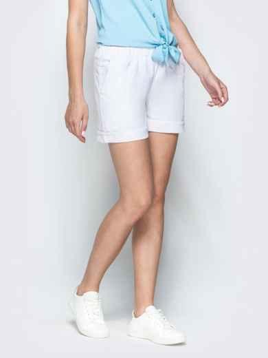 Льняные шорты белого цвета с резинкой по талии 39598, фото 2