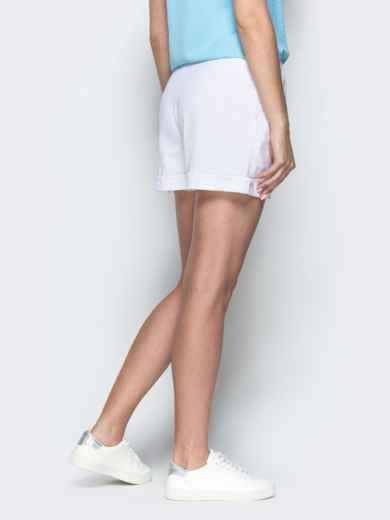 Льняные шорты белого цвета с резинкой по талии 39598, фото 3