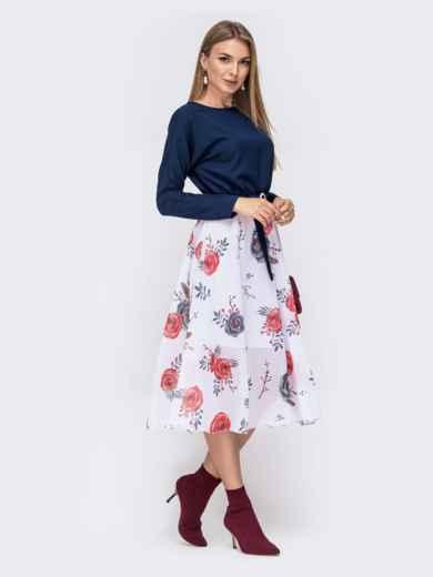 Платье с напуском по талии и принтованной юбкой тёмно-синее 41386, фото 3