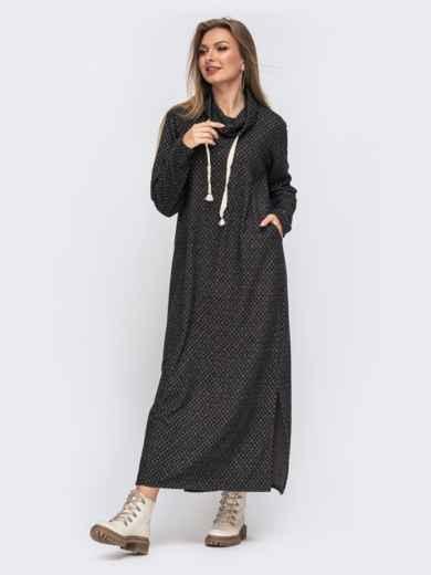 Свободное платье-макси с воротником-хомут серое 50955, фото 1