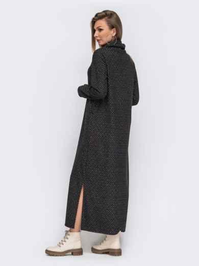 Свободное платье-макси с воротником-хомут серое 50955, фото 3