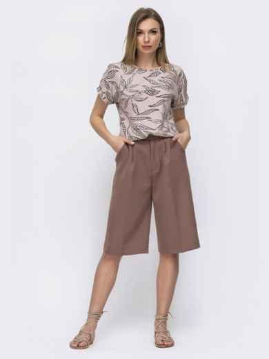 Блузка свободного кроя с принтом пудрового цвета 46901, фото 3